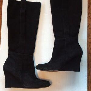 Nine West Black Suede Knee High Wedge Boot 10.5